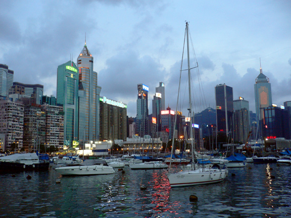 Pulling into Causeway Bay after a day on the water.