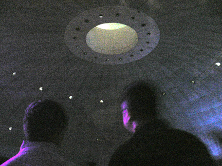 View from the seating area looking up at the ceiling.