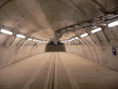 Industrial tunnel built into a mountain