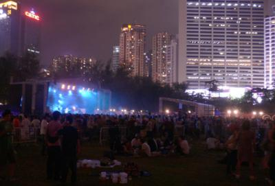The main stage at night...
