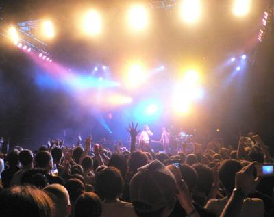 Ian Brown performing to a large crowd on night two.