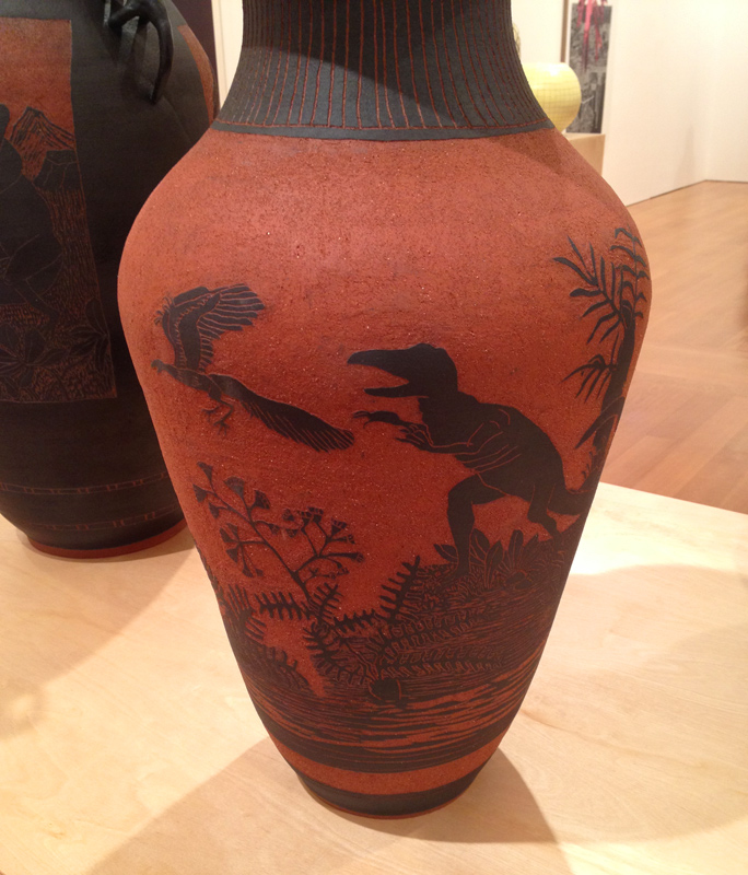 shio kusaka pottery dinosaur vase blackwelder ceramic